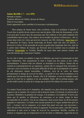 Sainte Bertille - L'association des Amis de Saint Colomban