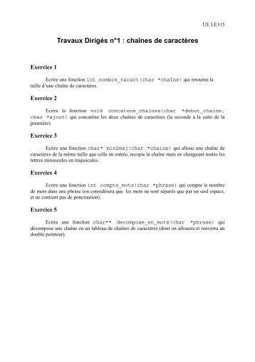 Travaux Dirigés n°1 : chaînes de caractères