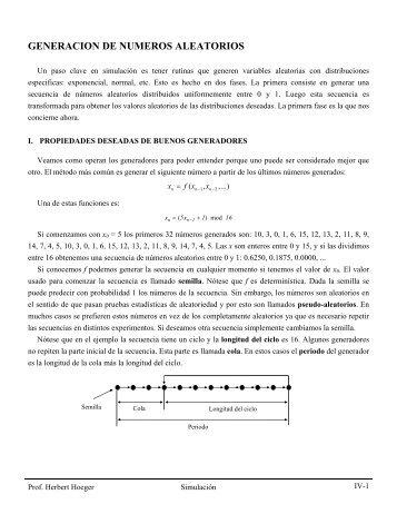 GENERACION DE NUMEROS ALEATORIOS - Web del Profesor