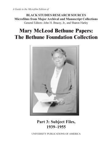 mary mcleod bethune essay example Abstract dr mary mcleod bethune was an african american educator that founded bethune cookman college in the early 1900's we will write a custom essay sample on.