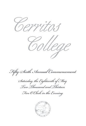 Download a copy of the commencement program - Cerritos College