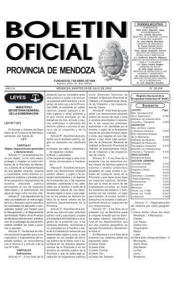 LEY PRESUPUESTO 2008 - Gobierno de Mendoza