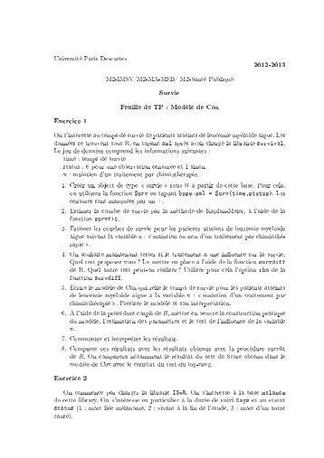 2012-2013 Survie Feuille de TP : Modèle de Cox Exercice 1 on ...