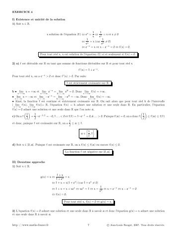 EXERCICE 4 I) Existence et unicité de la solution 1 ... - Maths-france.fr