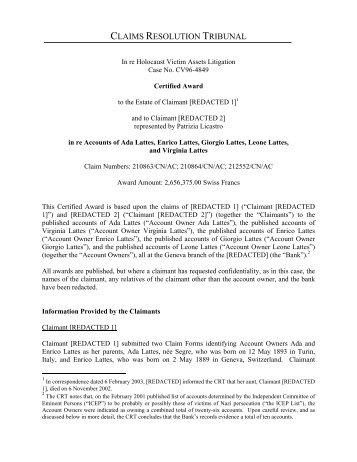 claims resolution tribunal - Holocaust Victim Assets Litigation (Swiss ...