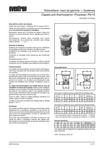 Clapet anti thermosiphon mod le universel oventrop - Clapet anti siphon fonctionnement ...