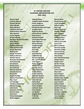 EL CENTRO COLLEGE ACADEMIC RECOGNITION LIST FALL 2012