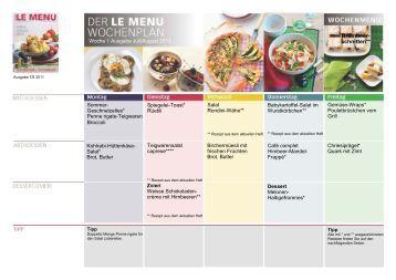 Mit dem LE MENU Wochenplan isst Ihre Familie gesund.