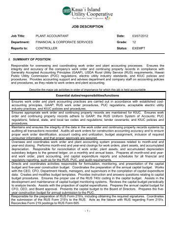 JOB DESCRIPTION - Kauai Island Utility Cooperative