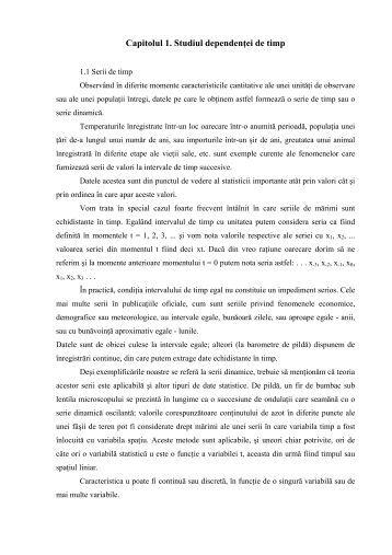 Capitolul 1. Studiul dependenţei de timp