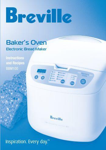 breville deluxe breadmaker bakers oven instructions