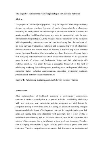 relationship marketing impact International journal of business and social science vol 3 no 2 [special issue – january 2012] 129 the impact of customer relationship marketing on costumers' image for.