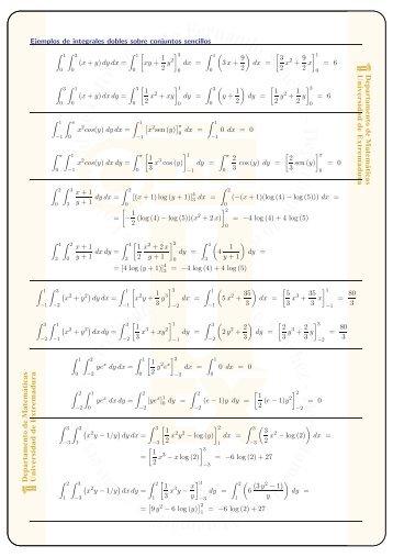 Más ejemplos de integrales dobles - Departamento de Matemáticas ...