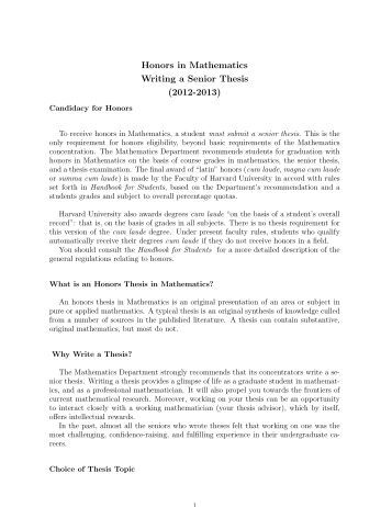 Mathematics honors thesis
