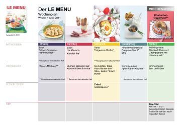 LE MENU Wochenplan 1 April 2011