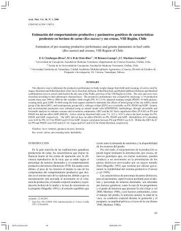 Estimación del comportamiento productivo y parámetros genéticos ...