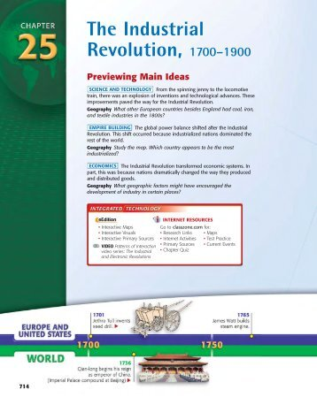 The Industrial Revolution, 1700– 1900 Previewing Main Ideas