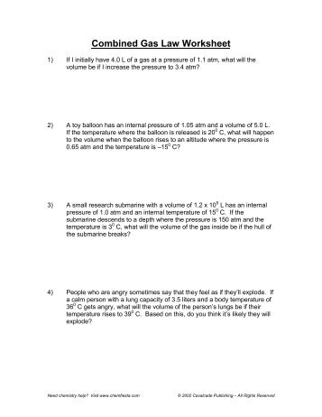 Mixed Gas Law Worksheet - The Best and Most Comprehensive Worksheets