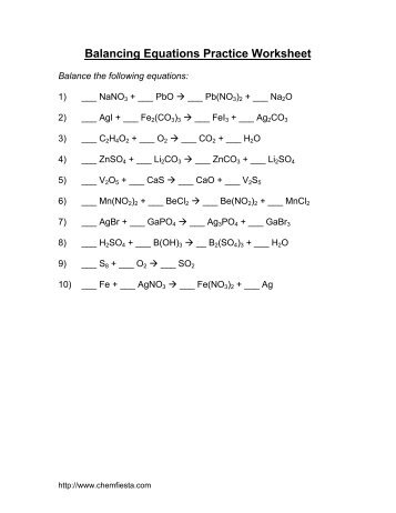 Balance Chemical Equations Practice Sheet