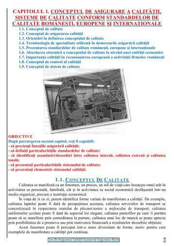 capitolul 1. conceptul de asigurare a calității, sisteme ... - Modulul 5