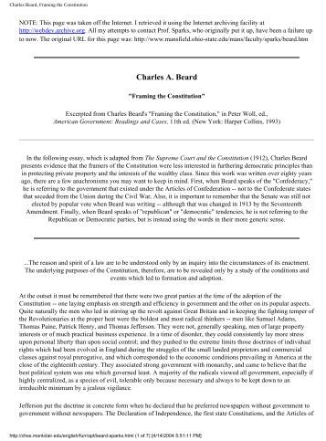 framing the constitution charles a. beard thesis Charles beard's suggested that the constitution was a document that was only created to protect the framer's wealth beard believed that the reason why the rich.