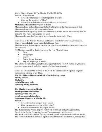 World History Chapter 11 The Muslim World (622?1650) - my CCSD
