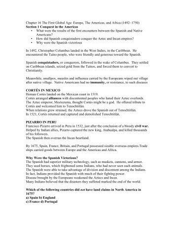 Chapter 16 The First Global Age: Europe, The Americas ... - my CCSD