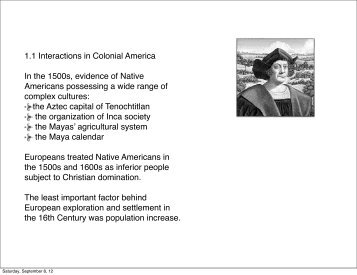 1.1 Interactions in Colonial America In the 1500s ... - my CCSD