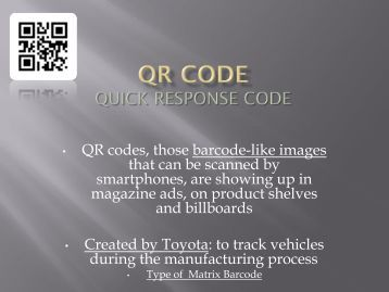 QR codes, those barcode-like images that can be scanned by ... - Scf