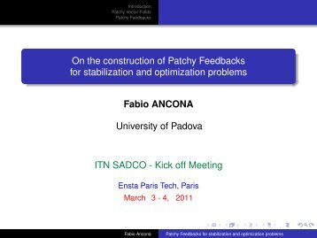 On the construction of Patchy Feedbacks for stabilization and ... - Ensta