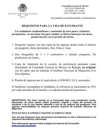 requisitos para la visa de estudiante - Secretaría de Relaciones ...