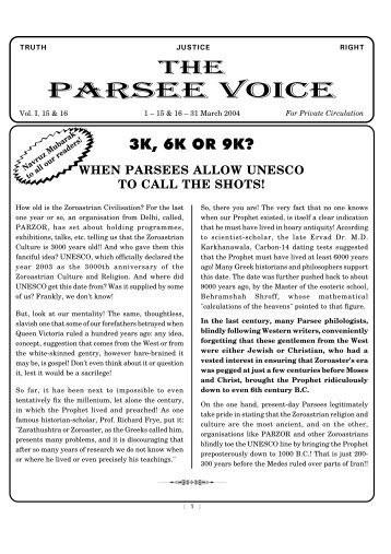 Parsee Voice.pdf - Traditional Zoroastrianism: Tenets of the Religion
