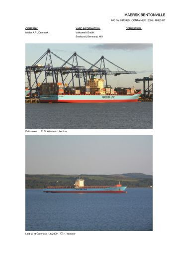 MAERSK BENTONVILLE - Cargo Vessels International