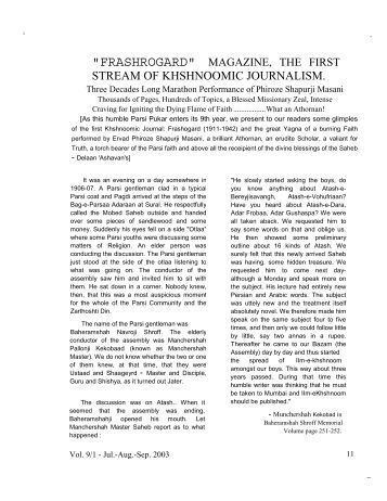 """frashrogard"" magazine, the first - Traditional Zoroastrianism: Tenets ..."