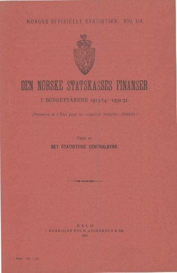 Den norske statskasses finanser i budgettårene 1913/14-1930/31