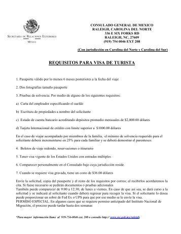 requisitos para visa de turista - Secretaría de Relaciones Exteriores