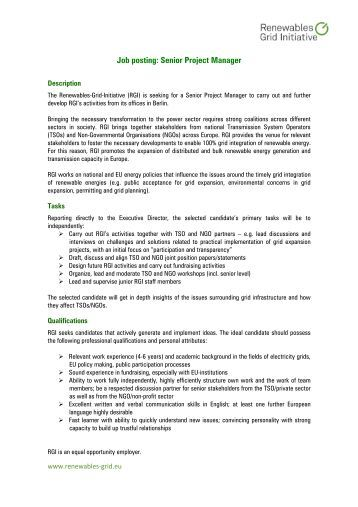 Job posting: Senior Project Manager - Renewables Grid Initiative
