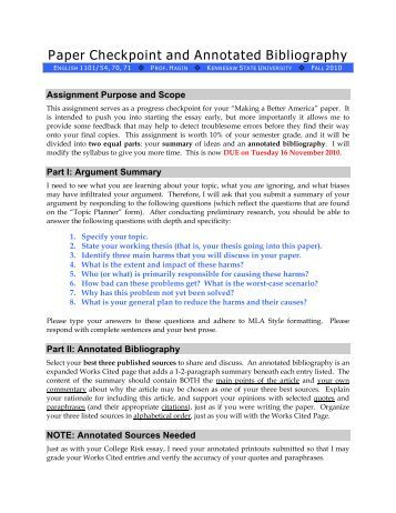 Mla Annotated Bibliography For A Website