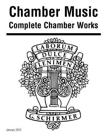 Solo and Chamber Music Special Sales Catalog - G. Schirmer, Inc.