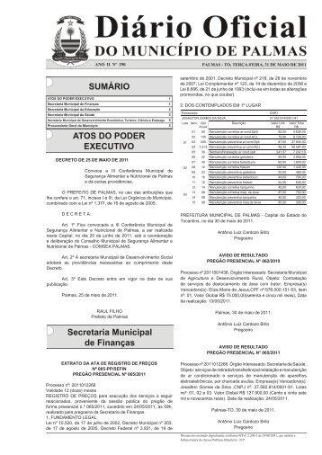 SUMÁRIO ATOS DO PODER EXECUTIVO Secretaria Municipal de ...