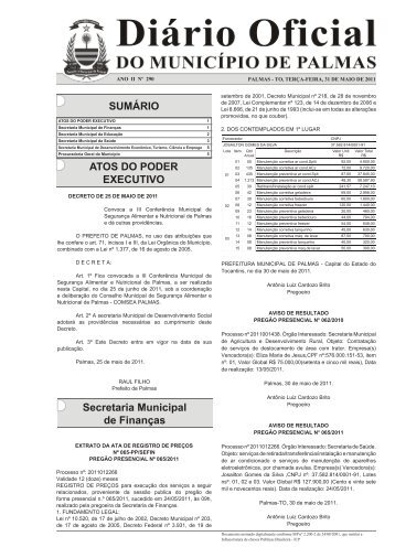 SUMÁRIO ATOS DO PODER EXECUTIVO Secretaria Municipal de ...