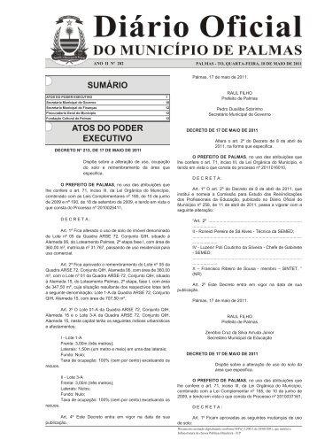 SUMÁRIO ATOS DO PODER EXECUTIVO - Diário Oficial de Palmas