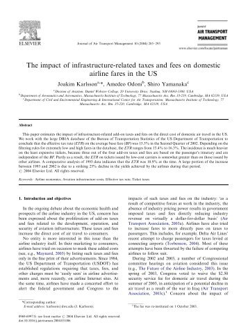 The impact of infrastructure-related taxes and fees on ... - mit.edu