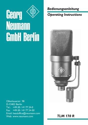 Bedienungsanleitung Operating Instructions TLM 170 R - Music ...
