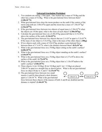 Printables Law Of Universal Gravitation Worksheet universal law of gravitation worksheet imperialdesignstudio newtons of