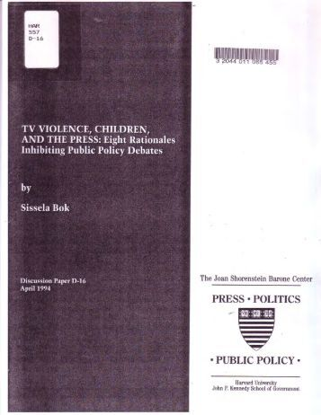 the effects of television violence on children and preventing it Children, adolescents, and television  tional television violence study, and fund more research on the effects of television on children.
