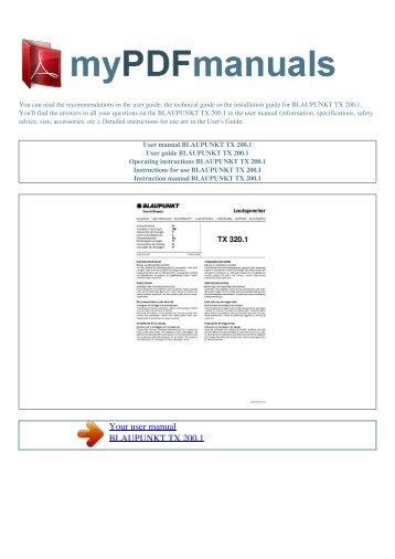 User manual BLAUPUNKT TX 200.1 - MY PDF MANUALS