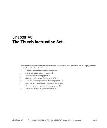 arm thumb instruction set