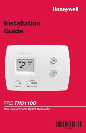 PRO TH3110D Non-Programmable Digital Thermostat - Honeywell ...