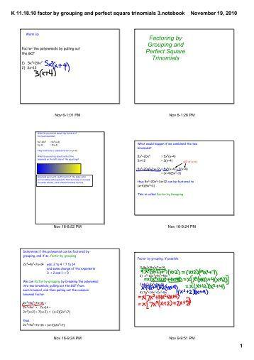 Kuta software factoring trinomials worksheet answers